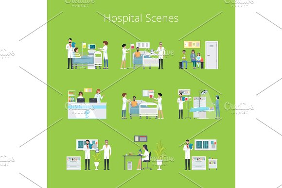 Hospital Scenes and Services Vector Illustration