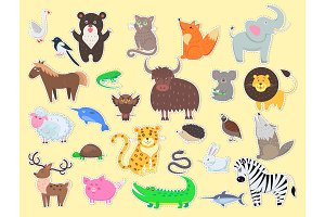 Cut out Exotic, Domestic and Farm Animals Poster