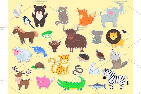 Cut out Exotic, Domestic and Farm Animals Poster in Illustrations