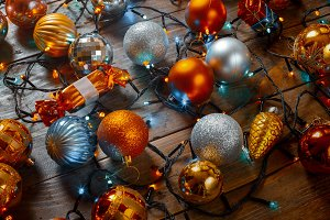 Christmas Tree Toys And Garland On A