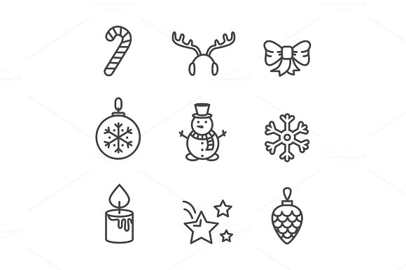 Cute Black and White Icons Vector Illustration in Objects