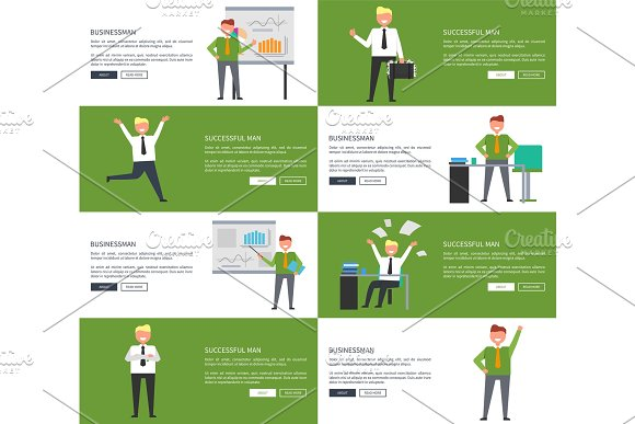 Businessman and Successful Man Vector Illustration in Illustrations