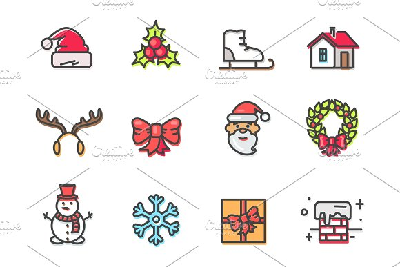 Hat and Mistletoe, Santa Icons Vector Illustration