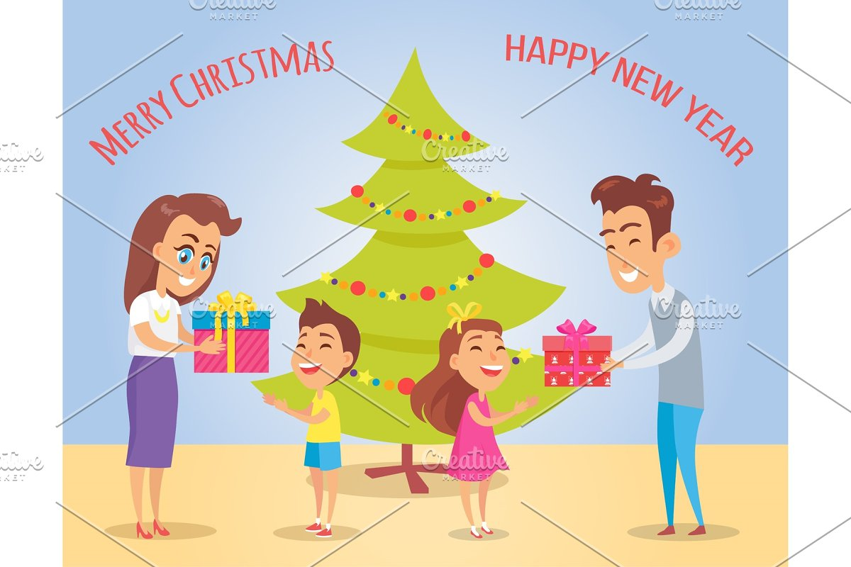 Merry Christmas and Happiness Vector Illustration