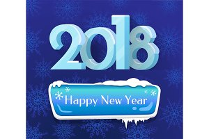 Happy New Year 2018 Poster Vector Illustration