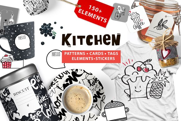 KITCHEN ( big graphic pack) in Illustrations
