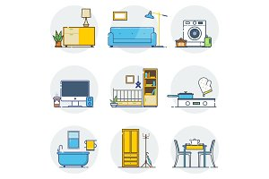 Set of line interior design icons line sign and symbols in flat design