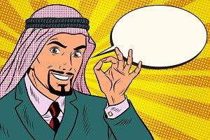 Arab businessman OK gesture, comic book bubble