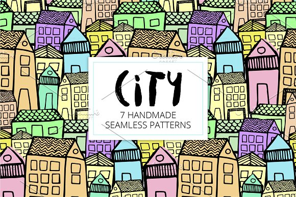 City | 7 Handmade Seamless Pattern