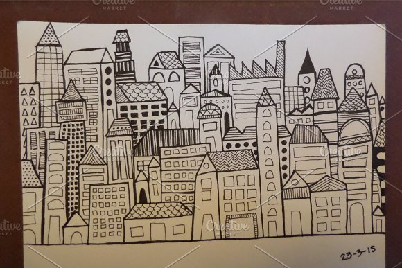 City | 7 Handmade Seamless Pattern in Patterns - product preview 2