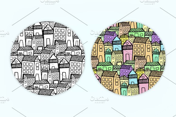 City | 7 Handmade Seamless Pattern in Patterns - product preview 6