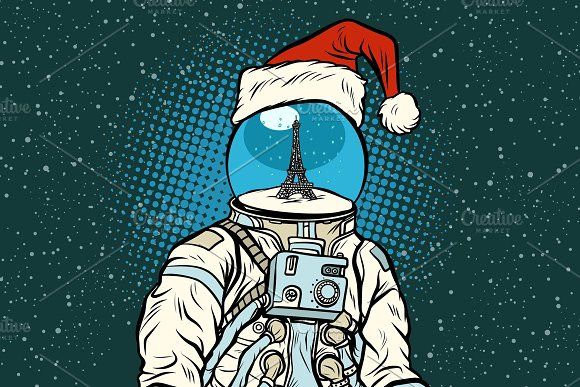 Christmas astronaut with dreams of Paris