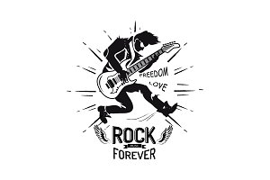 Rock Forever Freedom and Love Vector Illustration