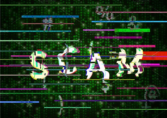 Glitch SCAM word on green matrix