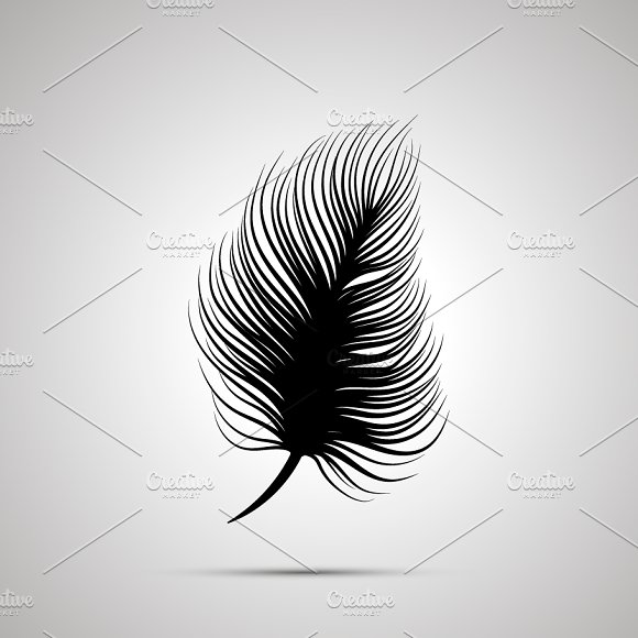 Feather silhouette, simple icon