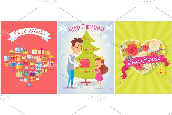 Best Wishes, Merry Christmas Vector Illustration