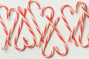 Christmas holiday candy cane pattern, texture and background, square crop