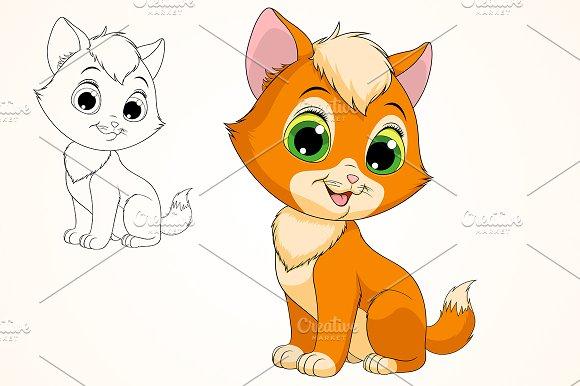 Funny redhead kitten