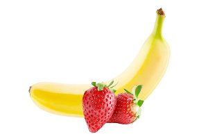 Two strawberries and banana isolated