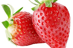 two fresh strawberry fruit isolated
