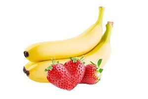 Three strawberries and banana