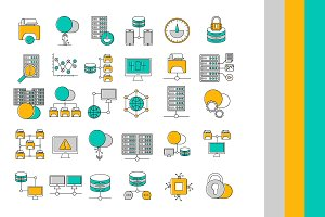 Network and Hosting Servers Icons