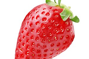 One whole strawberry fruit isolated
