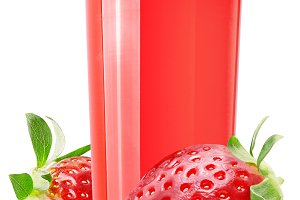 Fresh strawberry juice on white