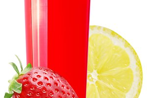 Fresh fruit juice strawberry,lemon