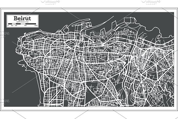 Beirut Lebanon City Map in Retro Sty