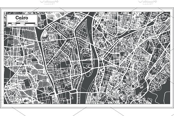 Cairo Egypt City Map in Retro Style.