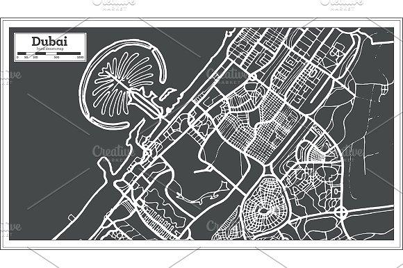Dubai UAE Map in Retro Style.