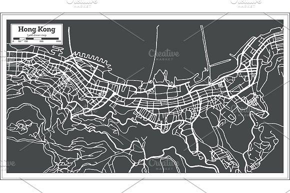 Hong Hong China City Map in Retro