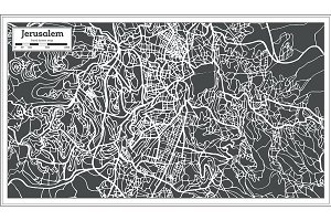 Jerusalem Israel City Map in Retro