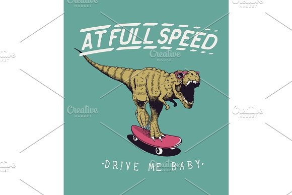 satisfied tyrannosaur rex rides on skateboard