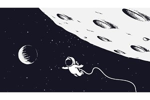 Spaceman flying near the Moon