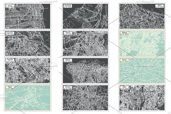 52 Hand Drawn Maps Set in Illustrations - product preview 10