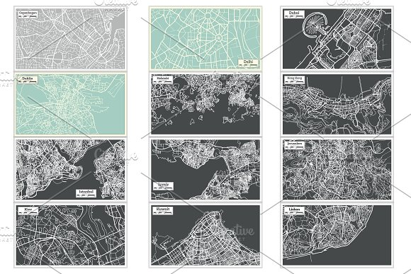 52 Hand Drawn Maps Set in Illustrations - product preview 11