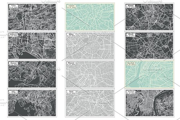 52 Hand Drawn Maps Set in Illustrations - product preview 12