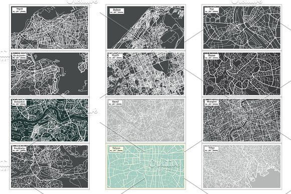 52 Hand Drawn Maps Set in Illustrations - product preview 13