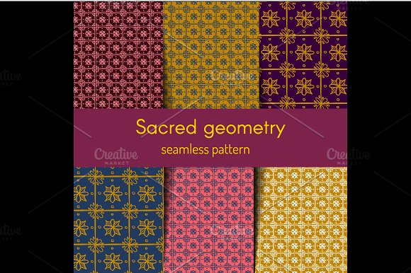 Floral tile seamless patterns set