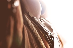 vintage western saddle closeup