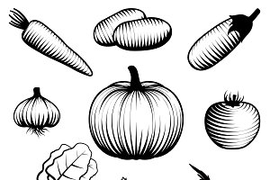 Monochromatic Vegetables Set