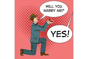 Marriage proposal pop art vector illustration