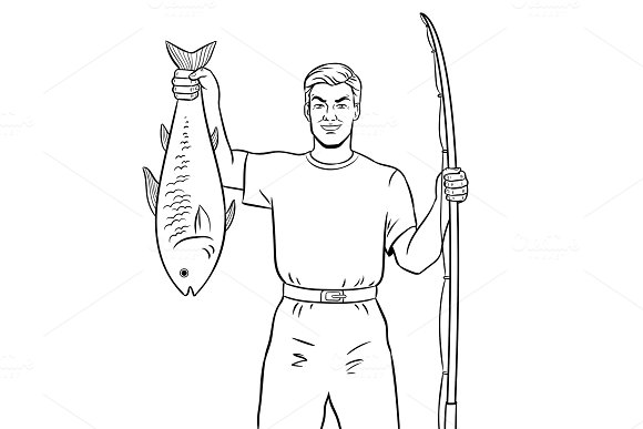 Fisherman with fish coloring book vector in Illustrations