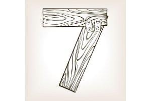 Wooden number 7 engraving vector illustration