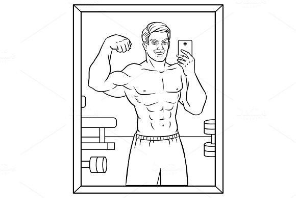 Body builder selfie coloring book vector