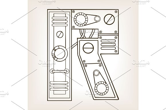 Mechanical letter R engraving vector illustration