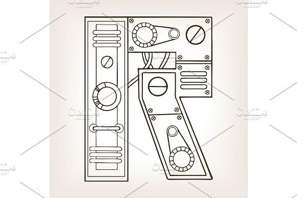 Mechanical letter R engraving vector illustration in Illustrations