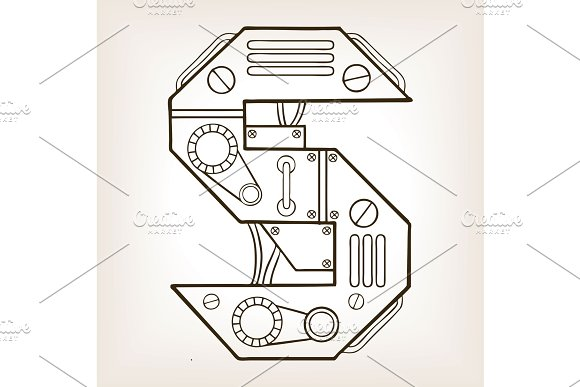 Mechanical letter S engraving vector illustration